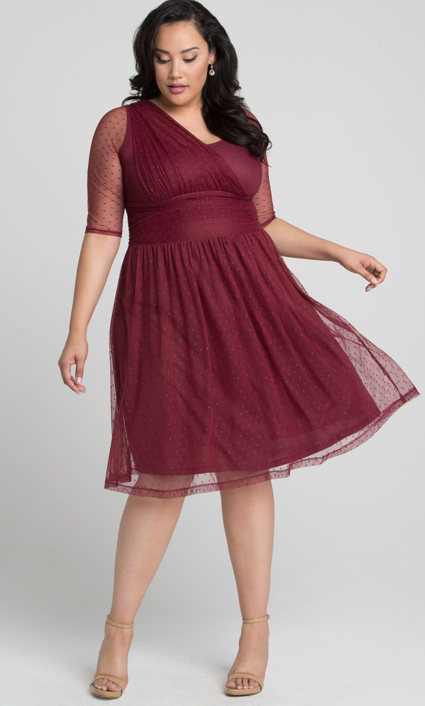 593e4ab2d4d Our plus size Emilia Mesh Dress is perfect for wedding season. This  retro-inspired cocktail dress is designed with trendy dot mesh and features  a flattering ...