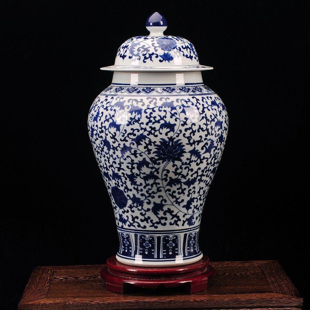 Blue and white temple jars antique chinese ceramic vase handmade blue and white temple jars antique chinese ceramic vase handmade porcelain jar jingdezhen porcelain ginger jar reviewsmspy