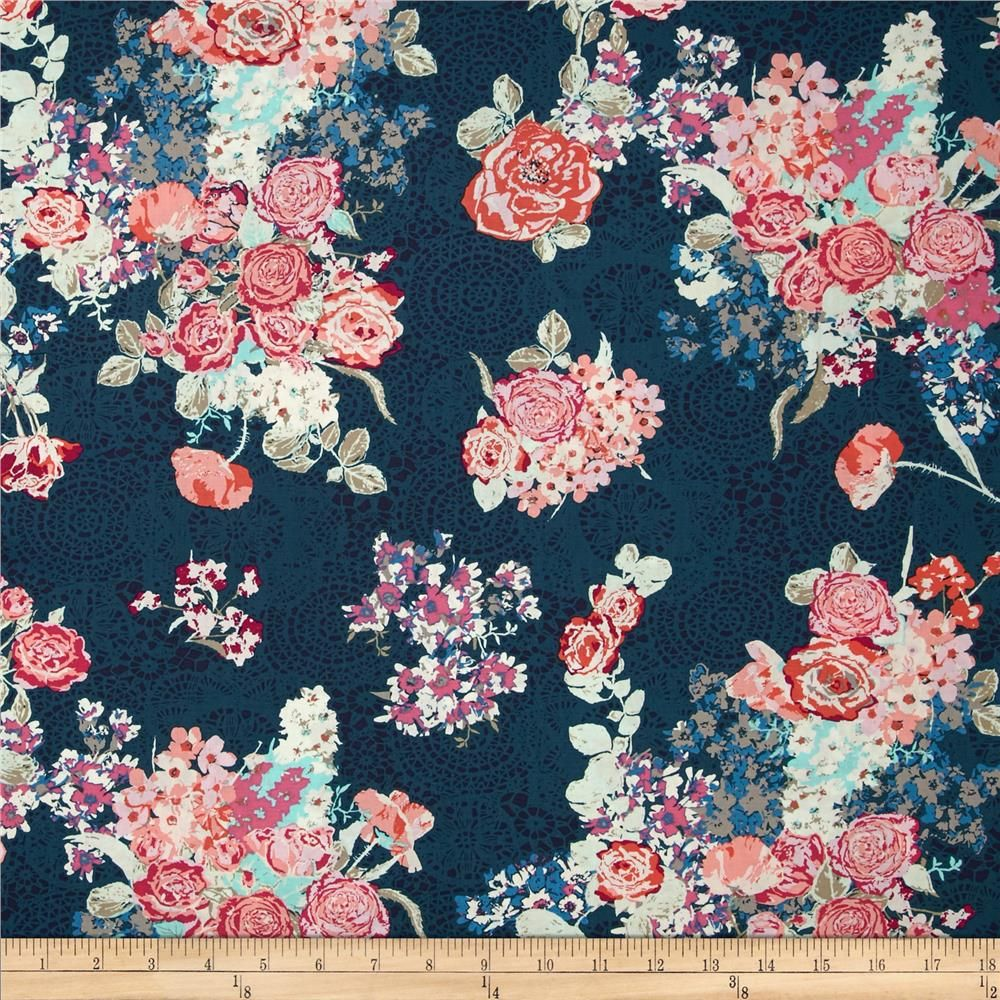 Art Gallery Skopelos Nisi Flora Oceanon from @fabricdotcom  Designed by Katarina Roccella for Art Gallery Fabrics, this cotton print is perfect for quilting, apparel and home decor accents. Art Gallery Fabric features 200 thread count of finely woven cotton. Colors include tan, grey, white, shades of blue, and shades of pink.