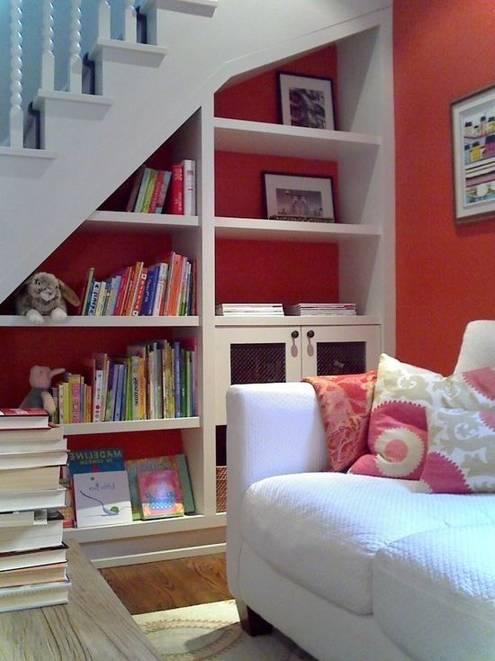 Stairs Shelves beautiful shelves under stairs | space savings ideas | pinterest