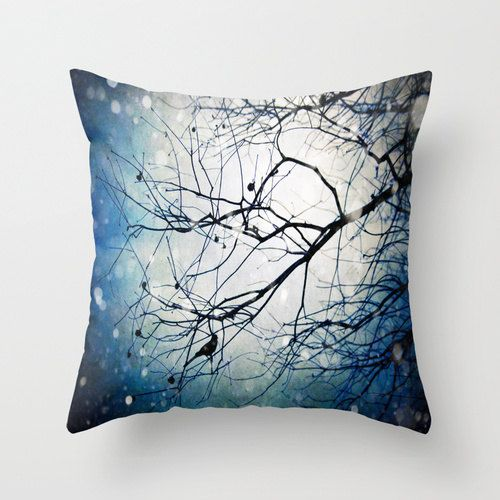 Sitting Waiting Wishing - Photo throw pillow cover photography midnight deep blue bird lovers living room home decor gift 16x16 18x18 20x20
