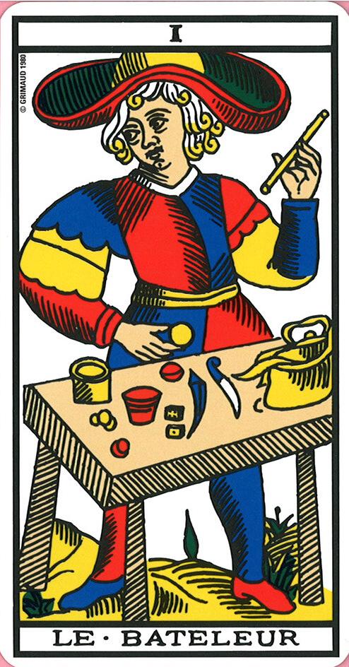 4b15865e44c935 Le bateleur - Tarot of Marseille   Tarot, this is my life !   Tarot ...