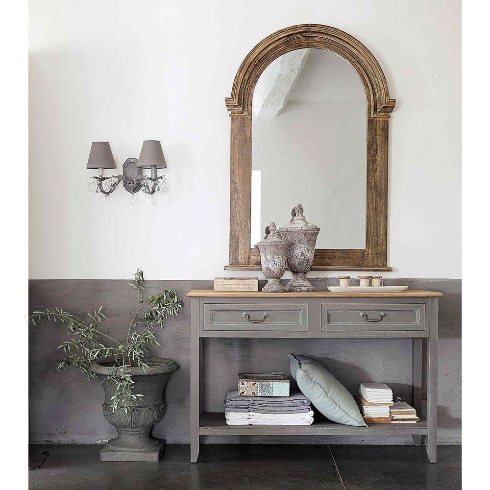 table console en bois grise l 120 cm