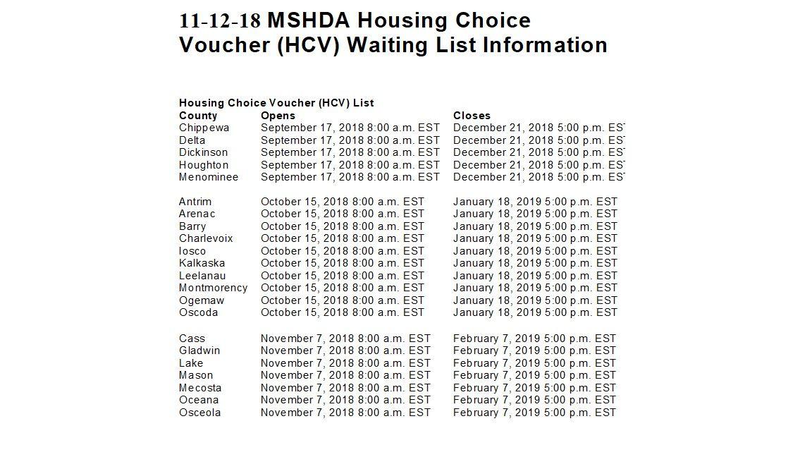 11 12 18 Michigan Housing 2 Michigan State Housing Development Authority S Sec 8 Open Lists Https Www Michigan Gov M Section 8 Housing Dickinson Houghton