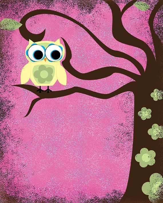 whimsical wall art  owl and tree with by WhisperWillowDesignz