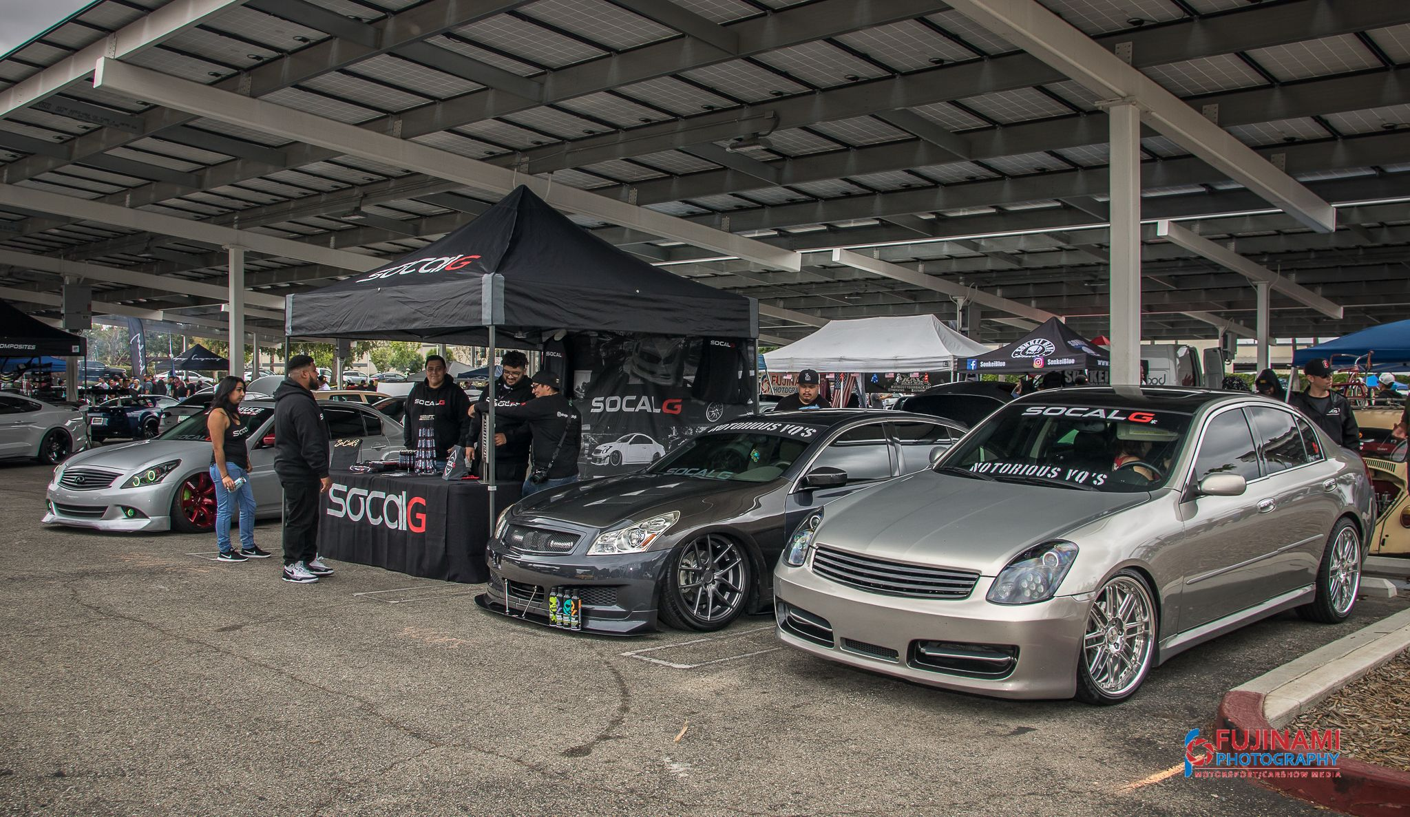 G35 And G37 Sedans At The Socalg Booth At A Car Show G37 Sedan Car Car Show