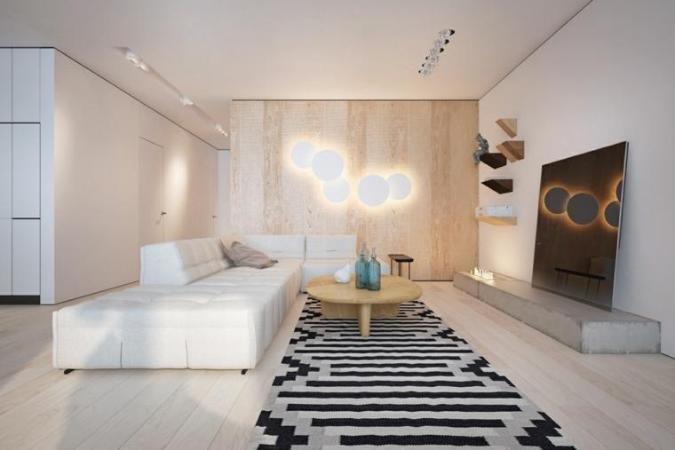 Innenarchitektur, die Holz und Schwarzweiss-Farben kombiniert - wohnzimmer deko schwarz weiss