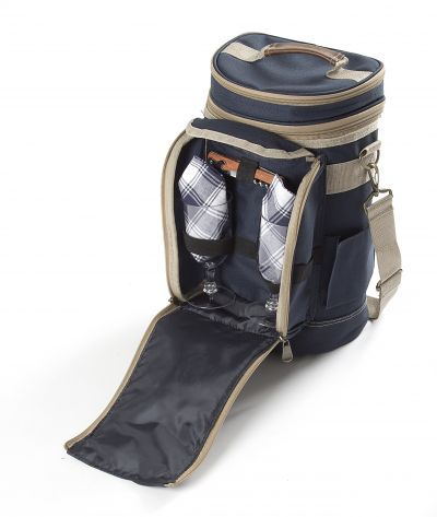 Greenfield Collection Super Deluxe Midnight Blue Picnic Backpack Hamper for Two People