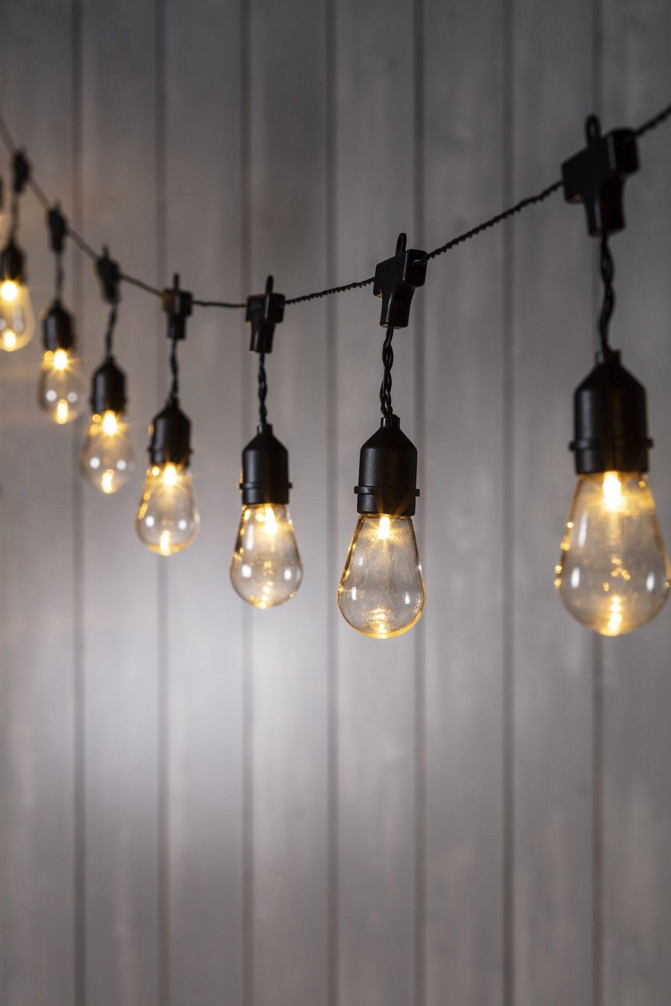 15 Drop Bulb Solar Festoon Lights Lighting Outdoor
