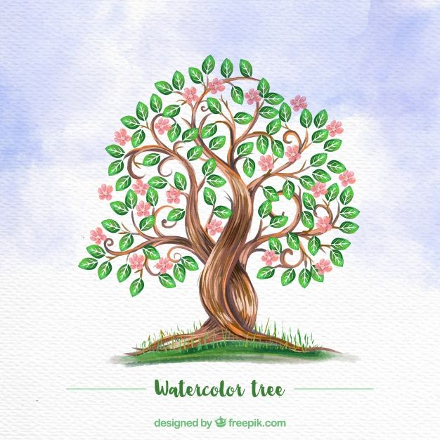 Watercolor Background With Flowery Tree Water Color Vectors In