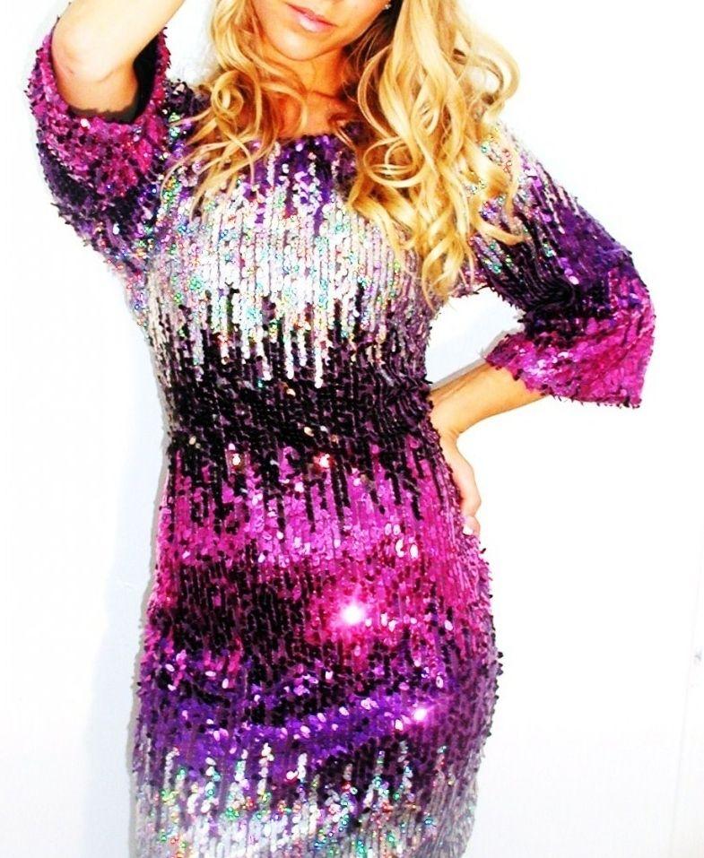 Plus Size Purple Silver Fading Sequin Long Sleeve Sequin Dress Sequins