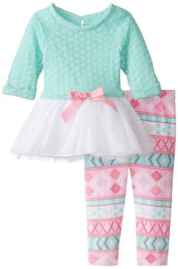 Youngland Little Girls' Sweater Knit Tutu Dress with Aztec Printed Legging, Multi, 3T