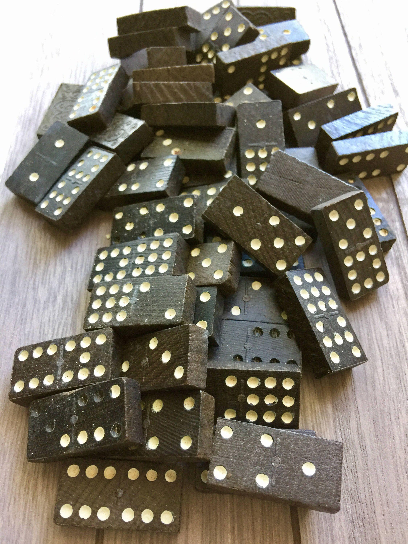 Vintage Wooden Domino Set Complete Antique Ebon Dominoes