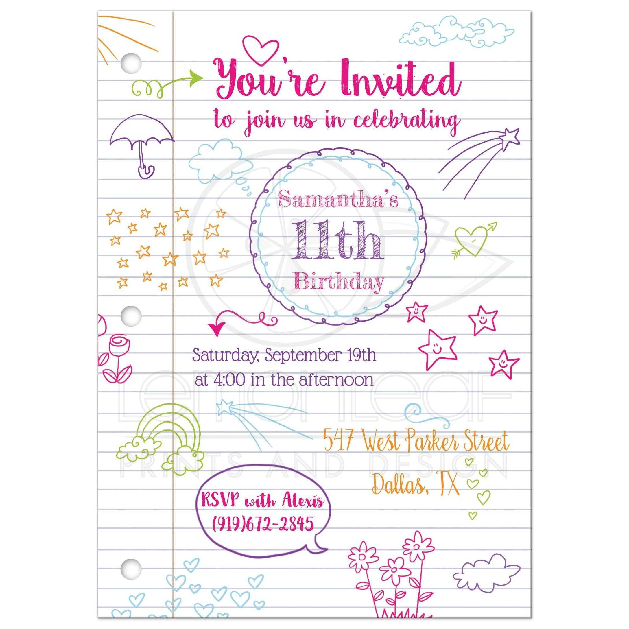 Birthday Party Invitation - Colorful Doodles on Notebook Paper ...