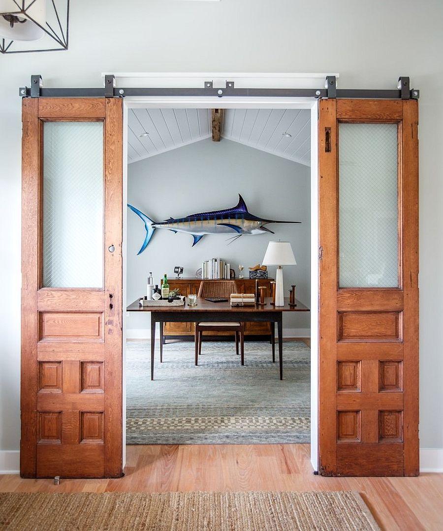 Beach Style Home Office With Sliding Barn Doors Asian Decor