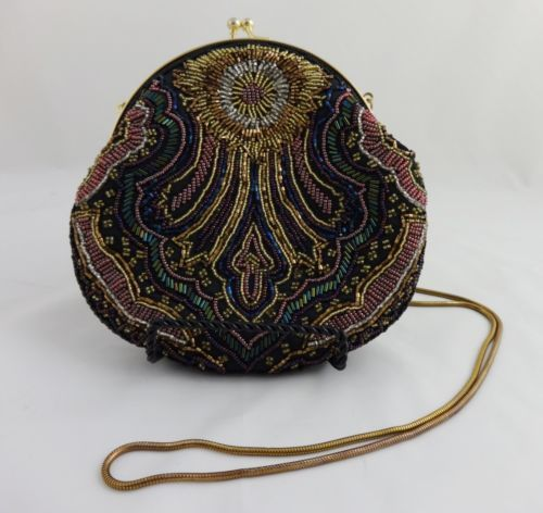 Beaded Evening Bag Purse Clutch Carla Marchi Shoulder Strap 19 Handbag