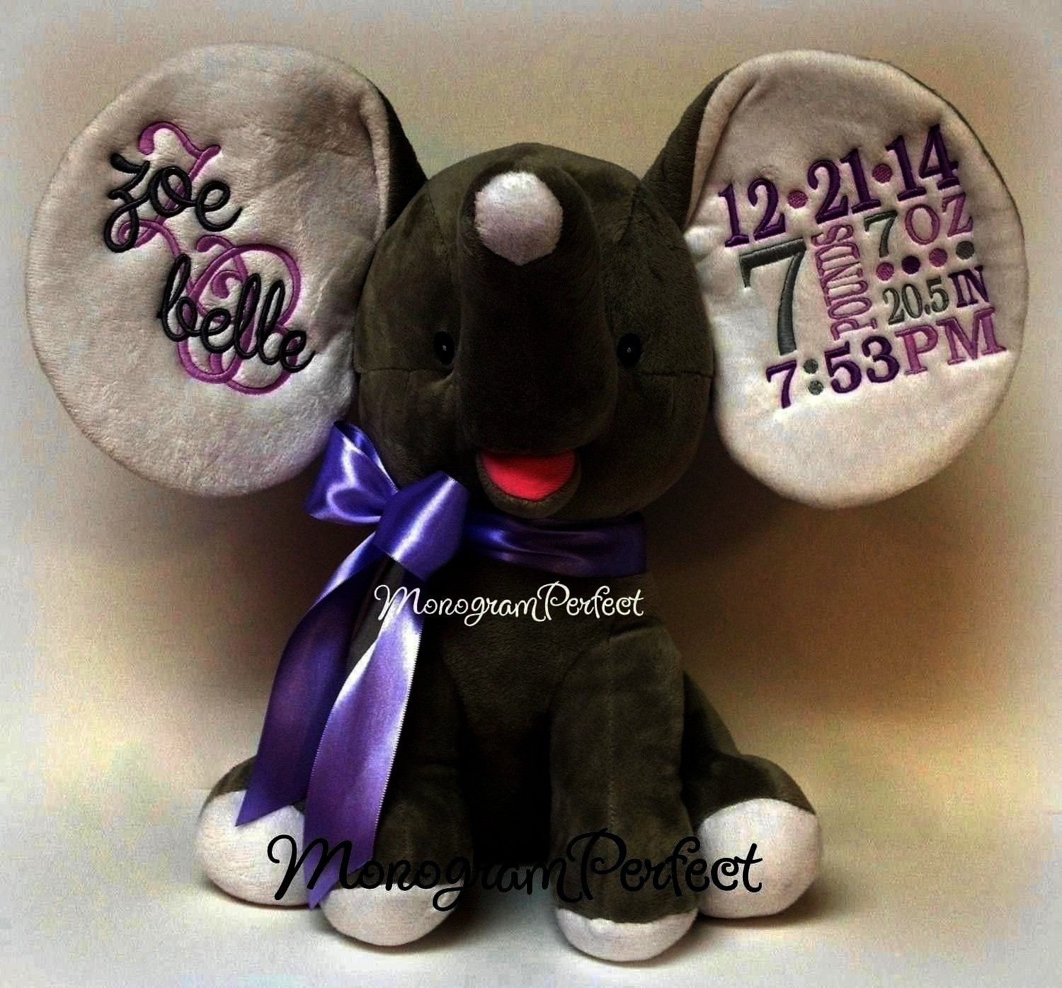 Birth Announcement Elephant Personalized Gray  Purple Birth Announcement Elephant  MonogramPerfect Retiring Design Personalized Gray  Purple Birth Announcement Elephant P...