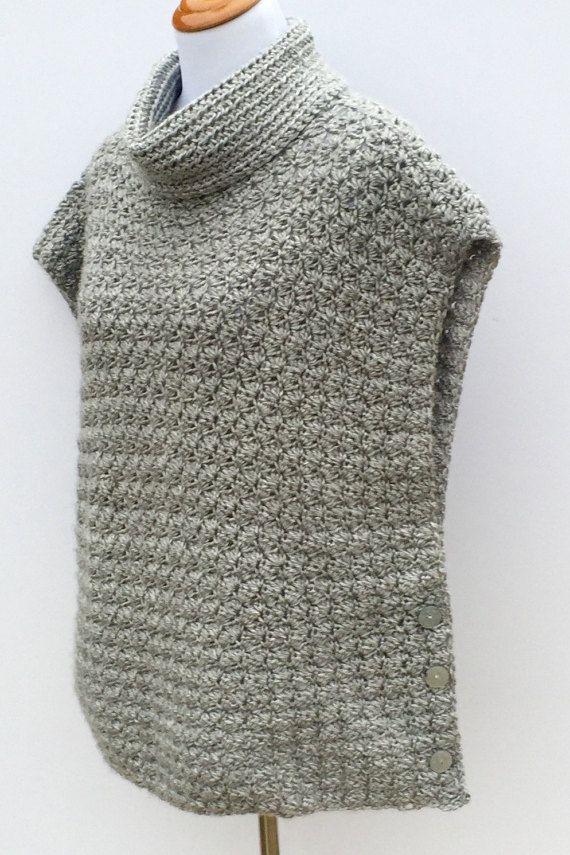 Crochet Poncho PATTERN Women girls Cowl Neck por LittleMonkeyShop ...