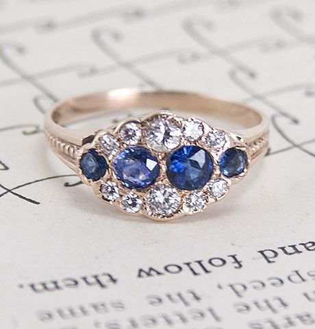 Victorian Cumulus Diamond and Sapphire Ring
