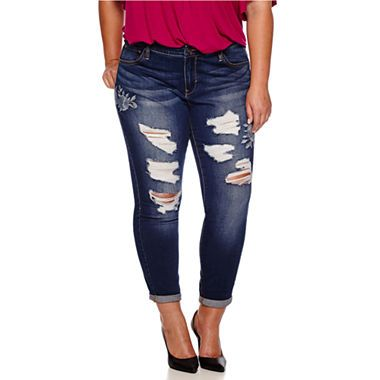 jcpenney | boutique+ embroidered destructed skinny jeans