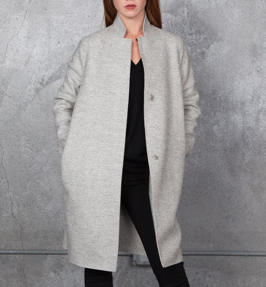 Tamarind - Harris Wharf London Cocoon Coat In Grey | Harris Warf ...