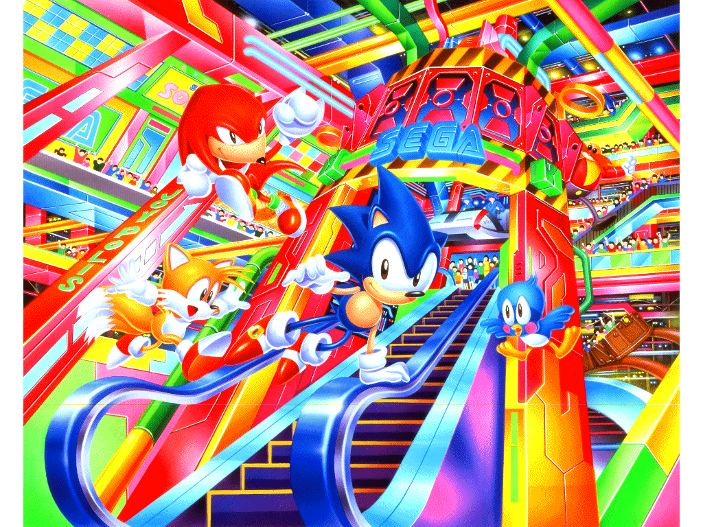 This Sega Wallpaper Seems Pretty Vaporwave Without Having To Edit Anything Sonic Sonic The Hedgehog Classic Sonic