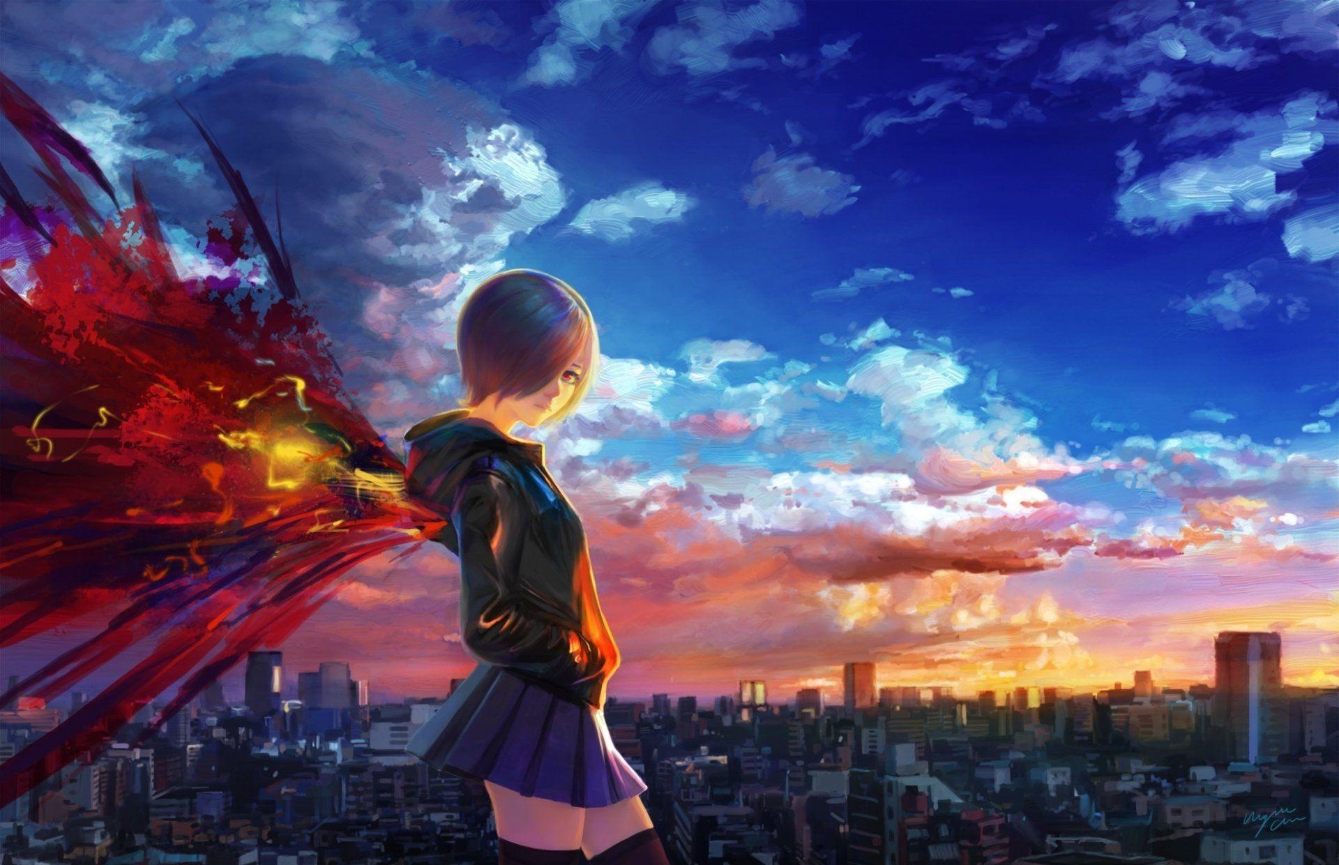 Anime Tokyo Ghoul Touka Kirishima Dziewczyna Miasto Zachód