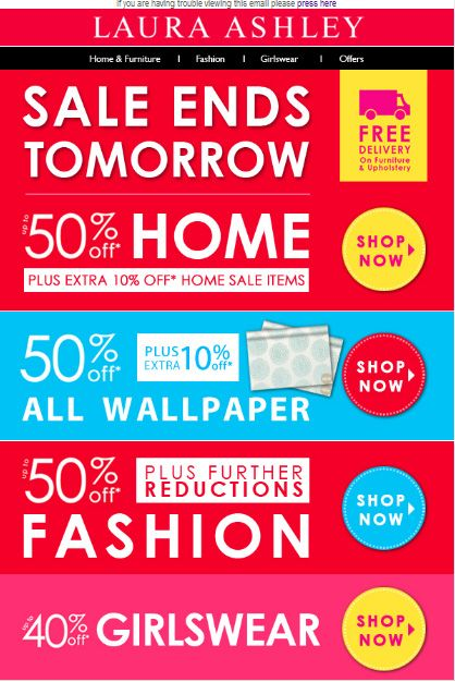 SALE Ends Tomorrow up to 50% Off PLUS 10% Off Home  21/04/2012