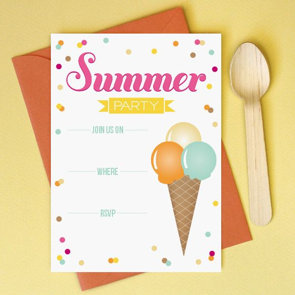Printable Summer Party Invitation Type in your details in Acrobat