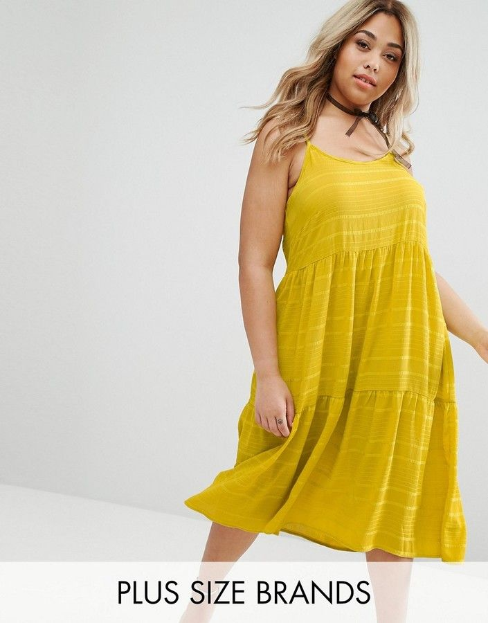 Lost Ink Plus Cami Tiered Smock Dress   Yellow sundress   summer ...