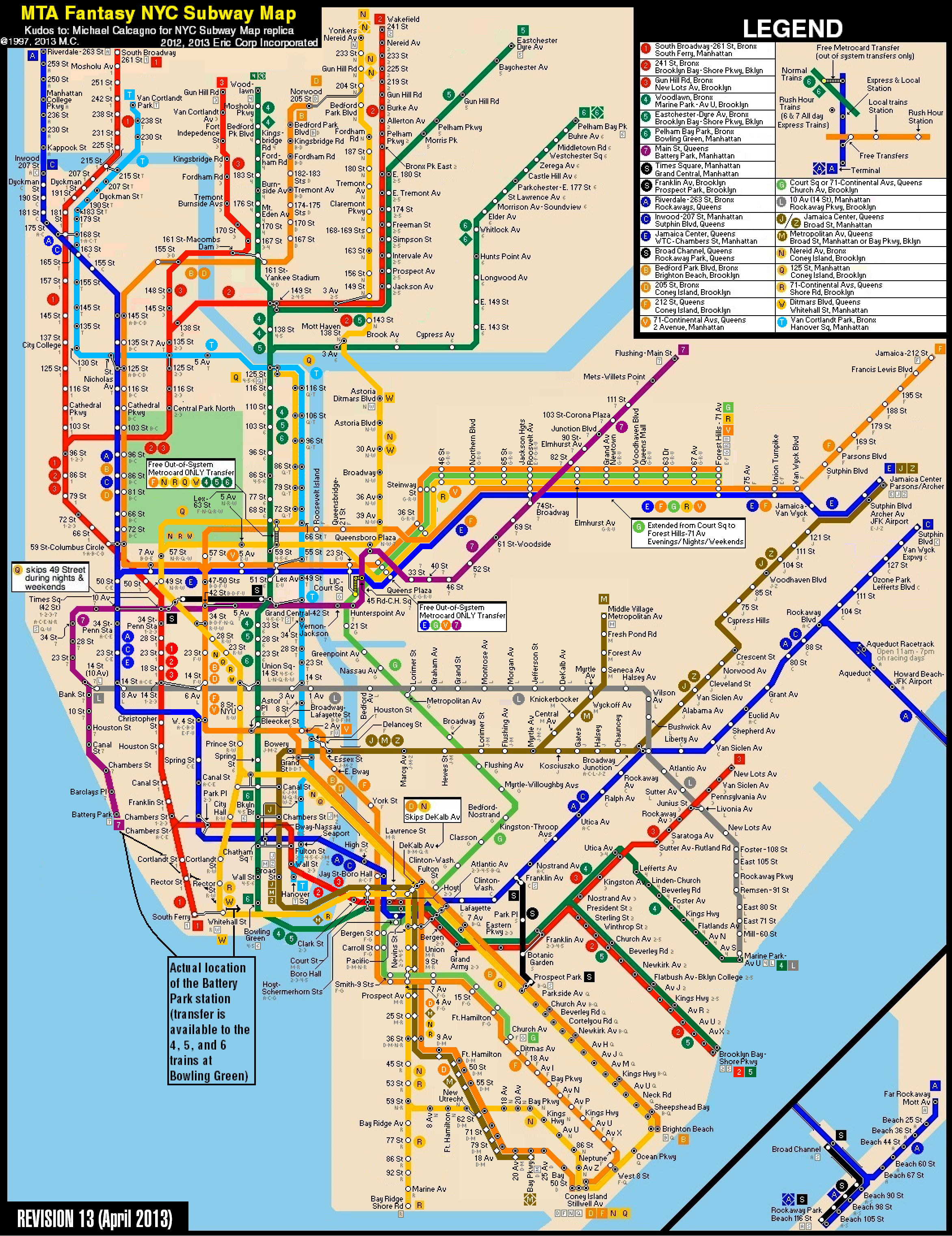 Subway Map For New York City.New York Subway Map New York City Subway Fantasy Map Revision 13