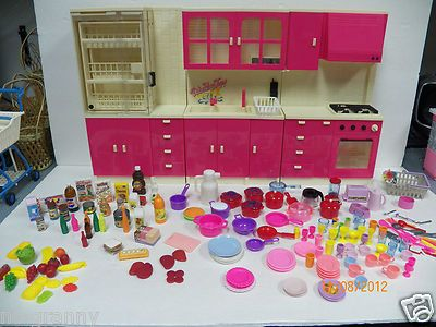 barbie furniture dollhouse. rare vintage barbie furniture complete kitchen with lot of food dishes appliance ebay dollhouse d