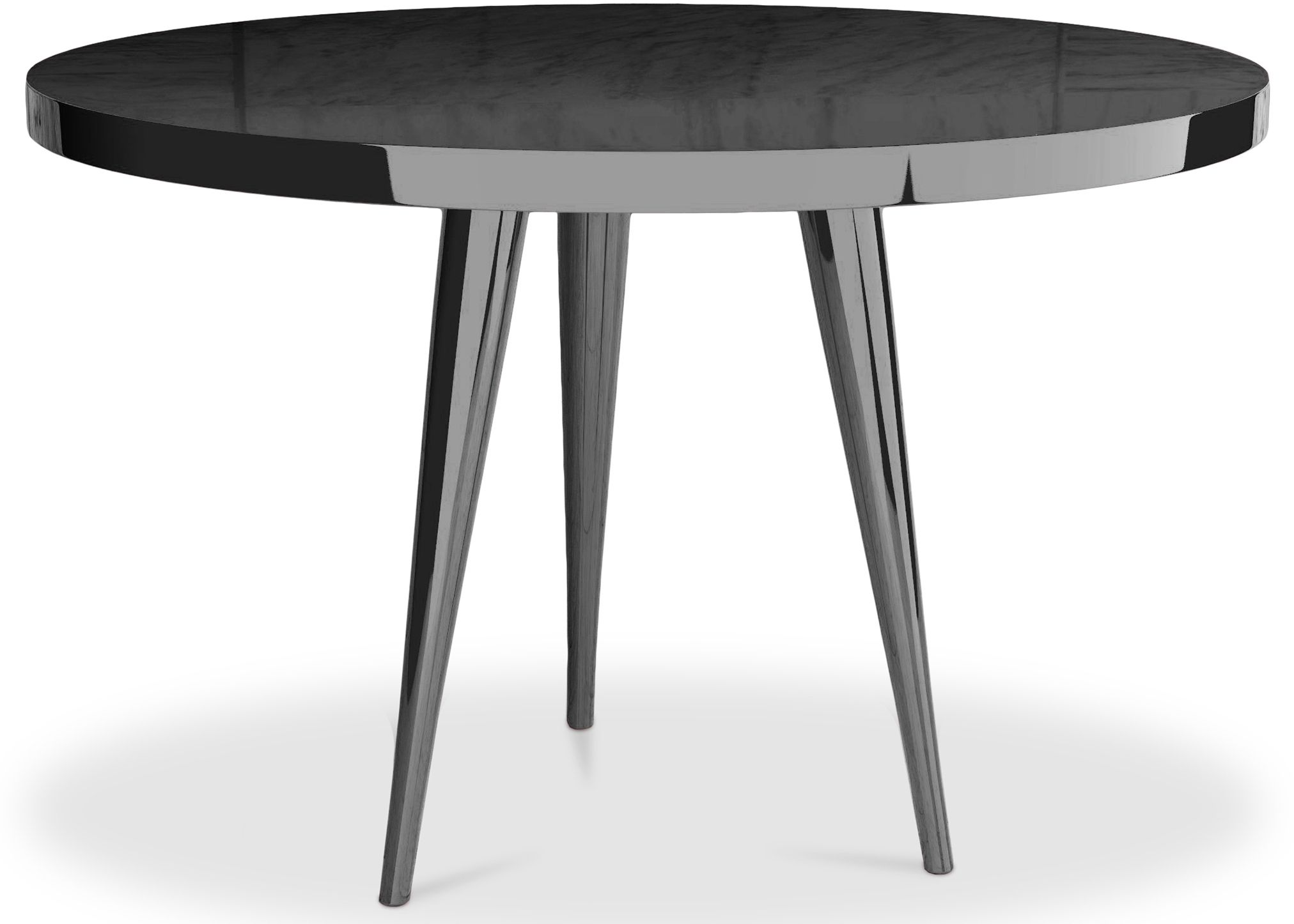 cette splendide table ronde de couleur noir est faite en bois