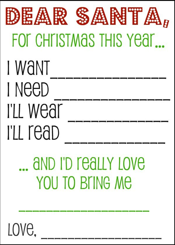 Christmas Wish List Santa Letters and Gift Tags Kids s, Santa - christmas list templates