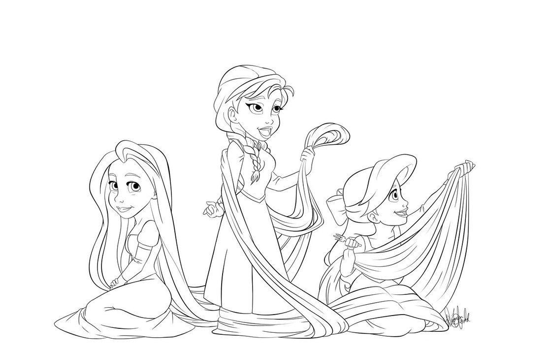 Rapunzel Ariel Anna Rapunzel Coloring Pages Princess Coloring