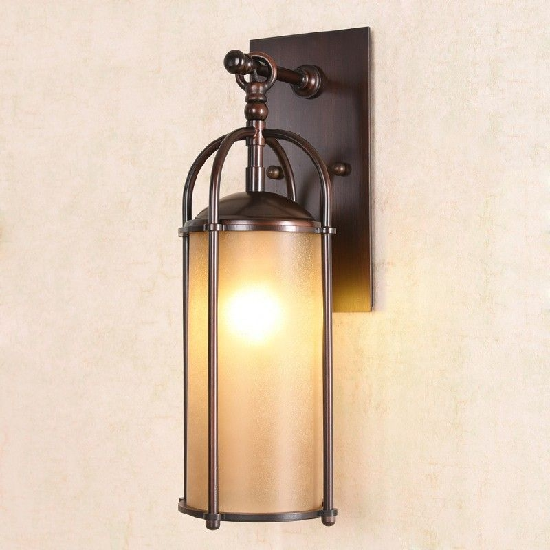 Classic 1 Light Iron Bronze Hanging Lantern Cylinder Glass Shaded Indoor Outdoor Wall Light Indoo Sconce Lighting Wall Lights