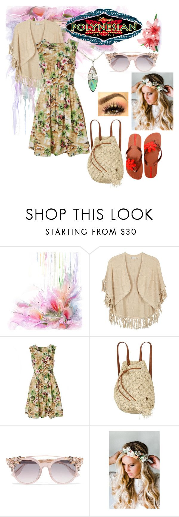 """Polynesian Resort"" by foreverdisneybounding ❤ liked on Polyvore featuring Kinross, Emily and Fin, Disney, Billabong, Jimmy Choo, Emily Rose Flower Crowns, IPANEMA, disneybound and DisneyResort"