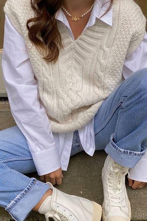 36 looks com colete de tricô para inspirar