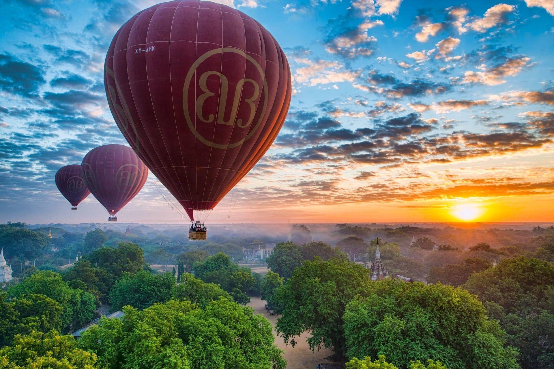 three pink hot air balloons the sky #sunset #balloons #panorama #Myanmar #Burma #Myanmar #Bagan #Burma #Pagan #1080P #wallpaper #hdwallpaper #desktop