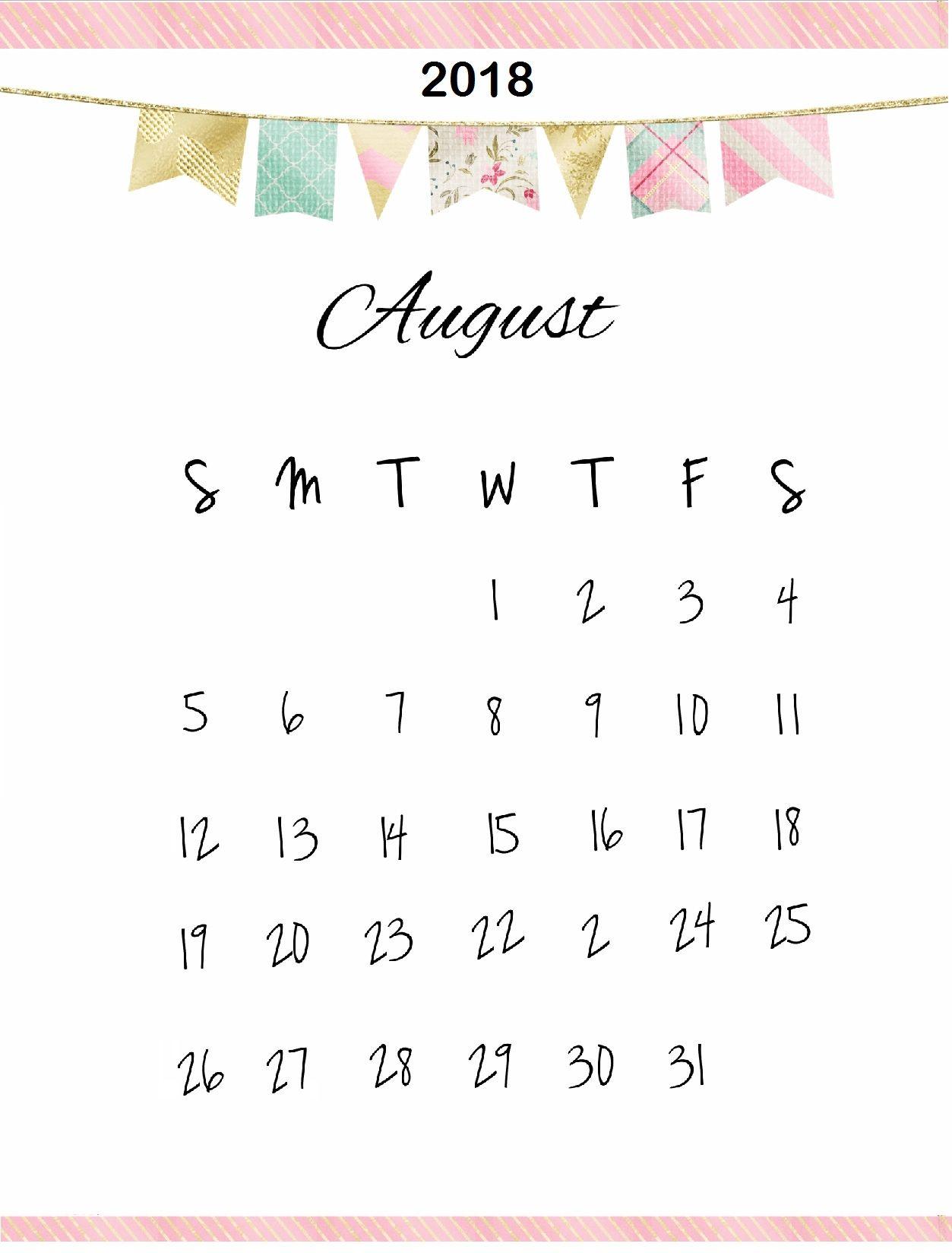 Cute August 2018 Calendar Calendar Design