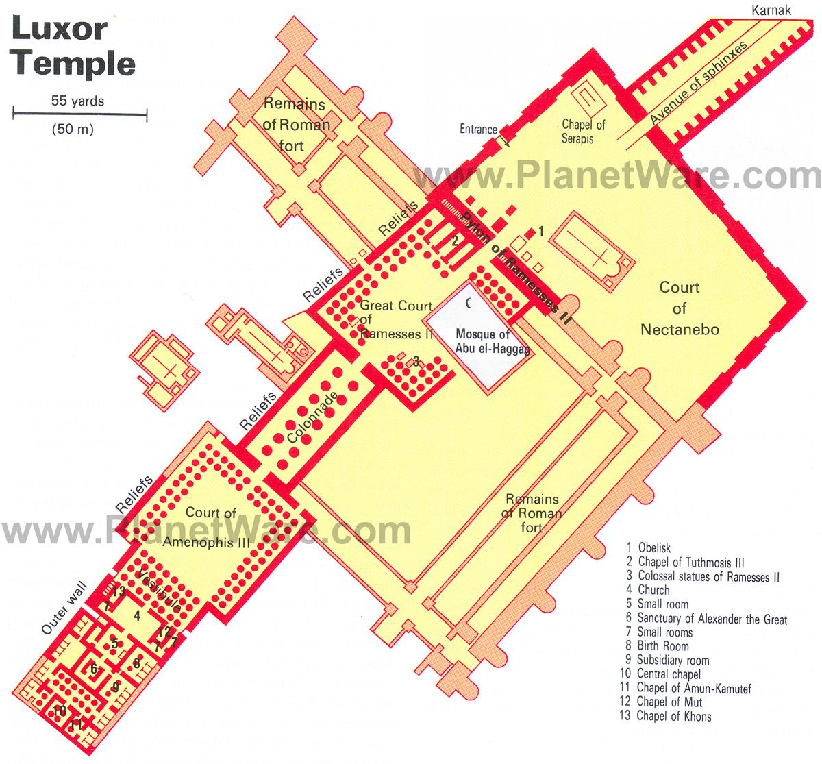 Luxor Temple Floor Plan Map Kemit Temples And Tombs - Map of egypt during the new kingdom