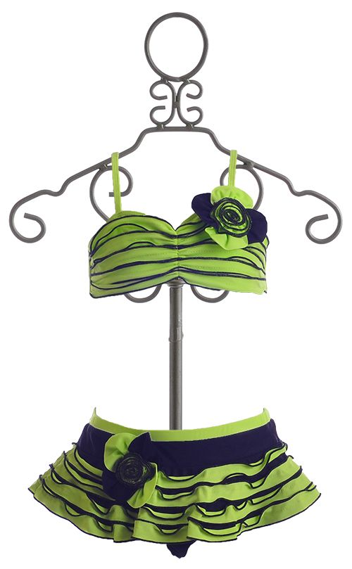 a96f450237d Isobella and Chloe Lime and Black Bikini for Girls  34.00
