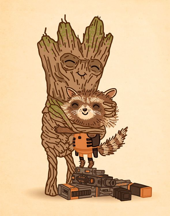Rocket Raccoon and Groot by Micke Mitchell