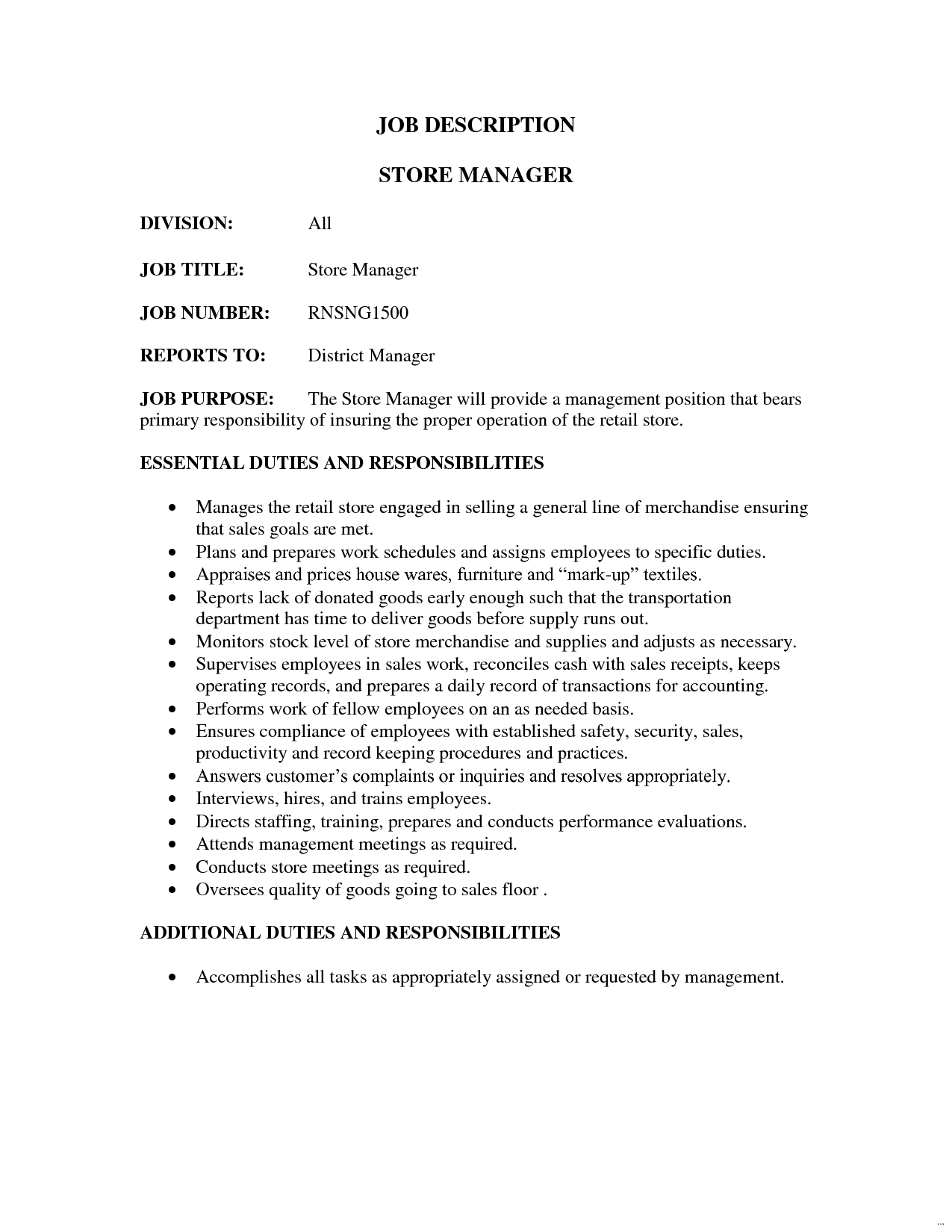 Retail Job Description Revolutionary Store Manager Sales Resume