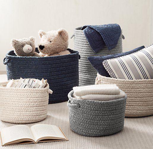 Braided Wool Baskets Baby Nursery Storage Rh Baby Child Nursery Storage