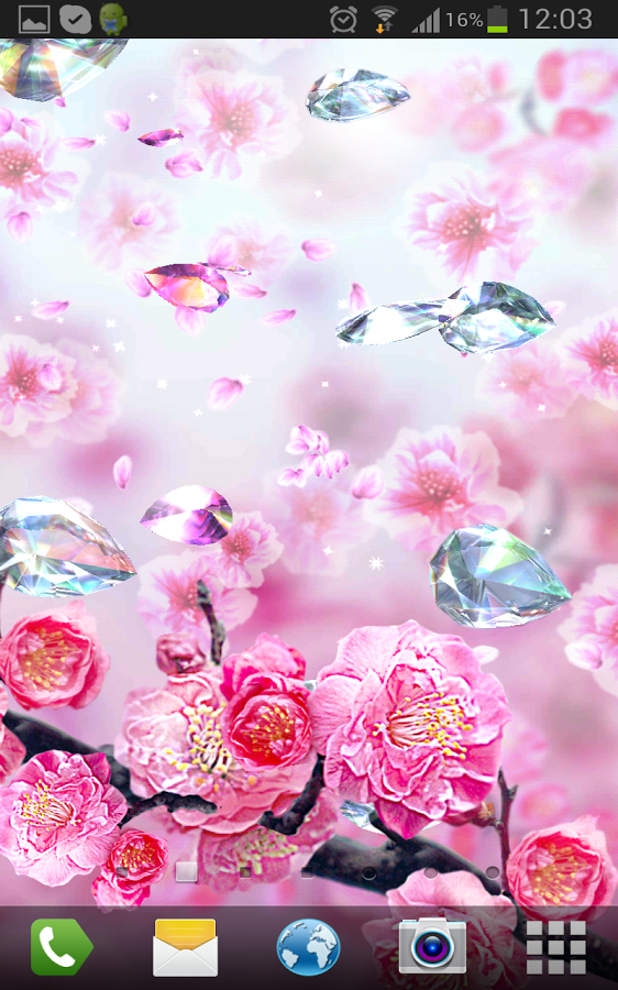 It's really 3D live wallpaper! The effect of parallax like in IOS7, diamonds rotating, sparkling and shimmering, from touching falling petals!