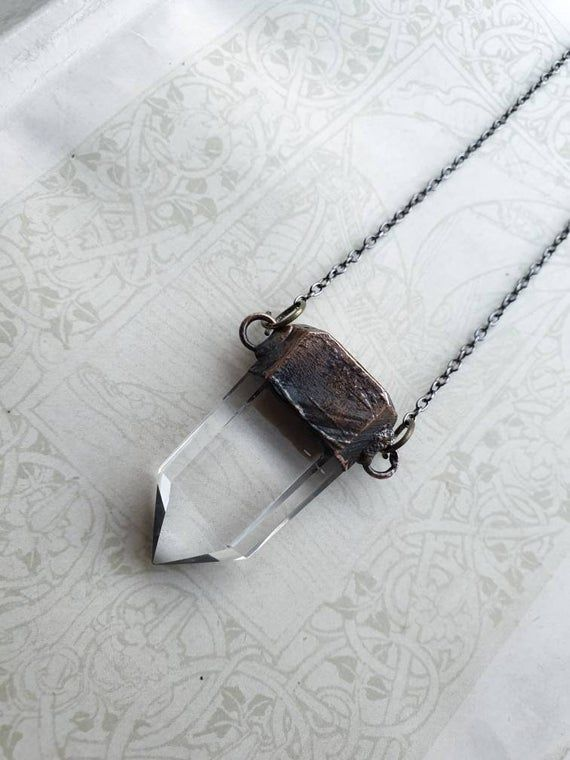 Crystal quartz necklace/ electroformed/ enchanted/ gothic/ witch/ healing/ crystal/ magic / spells
