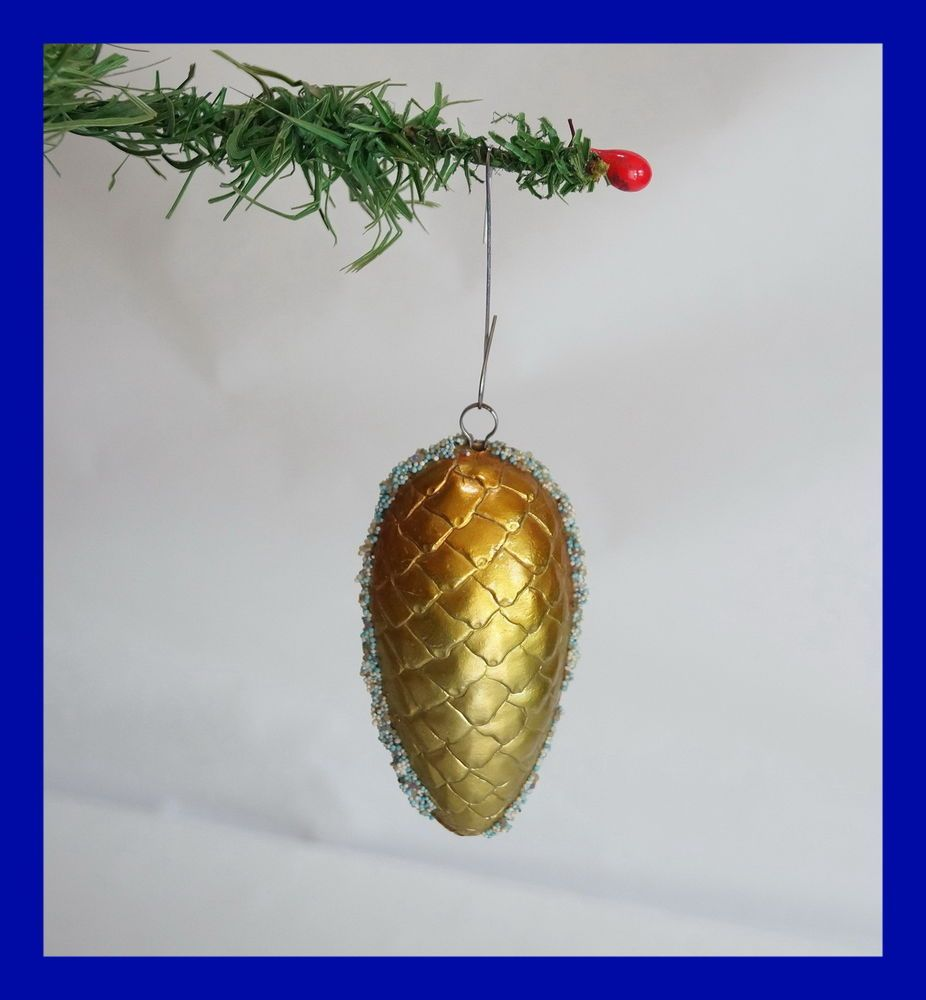 Vintage Christmas Dresden  Pine Cone Cardboard Ornament - around 1920  (# 4608)