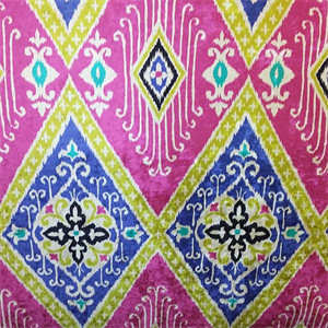 Beautiful Blue Green And Pink Ikat Fabric For Velvet Upholstery