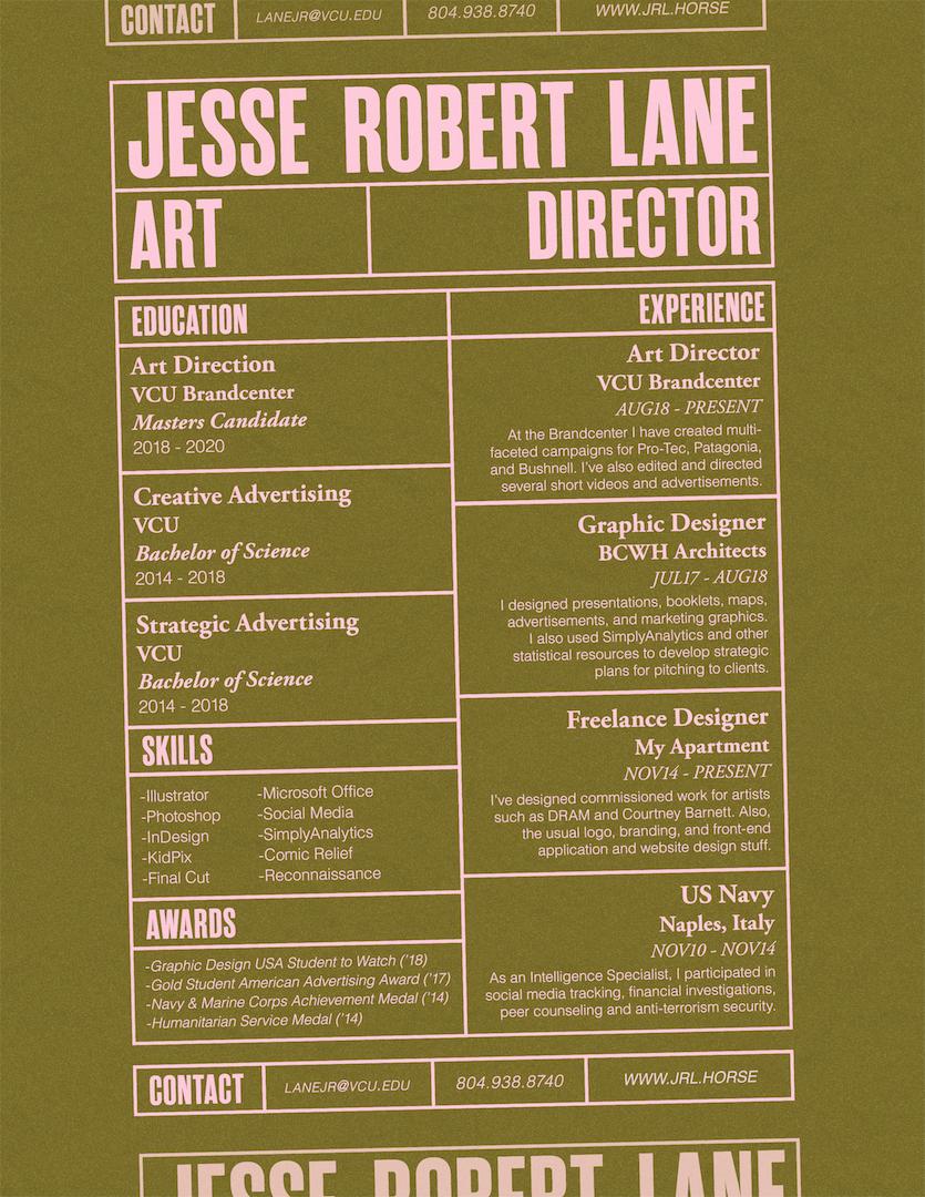 Resume Jesse Robert Lane Art Director Resume Design Creative Director Cv Resume